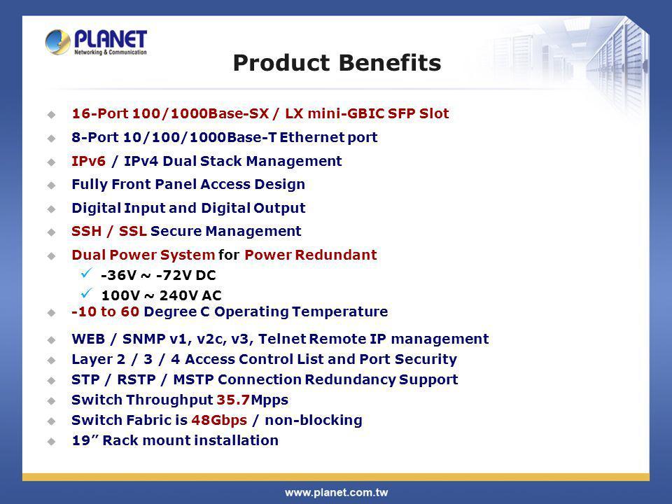 Product Benefits 16-Port 100/1000Base-SX / LX mini-GBIC SFP Slot