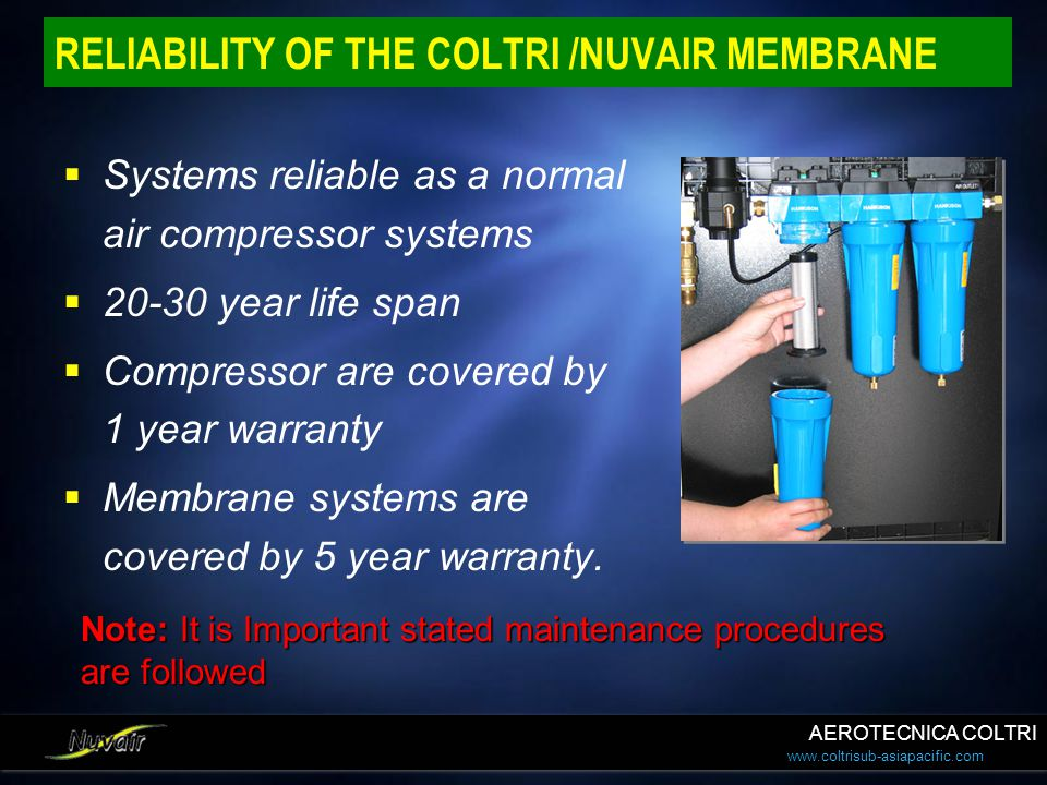 RELIABILITY OF THE COLTRI /NUVAIR MEMBRANE