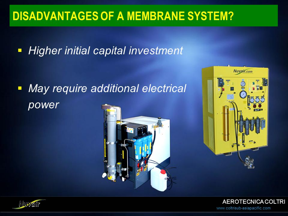 DISADVANTAGES OF A MEMBRANE SYSTEM