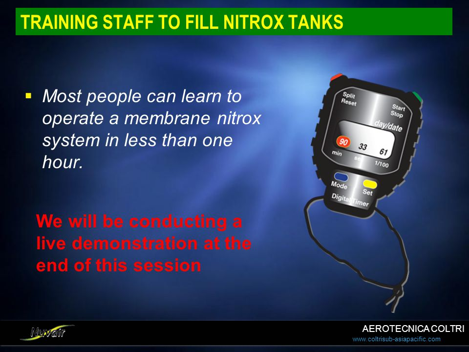 TRAINING STAFF TO FILL NITROX TANKS
