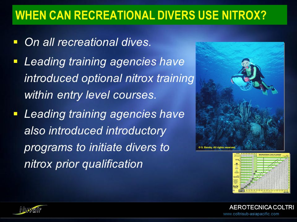 WHEN CAN RECREATIONAL DIVERS USE NITROX