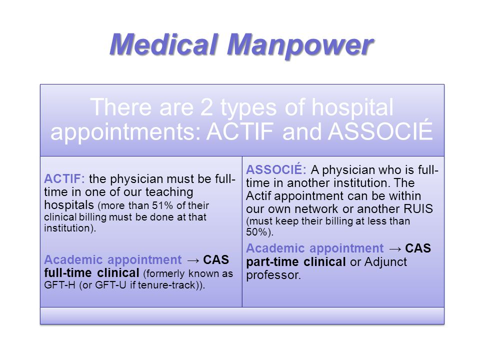 There are 2 types of hospital appointments: ACTIF and ASSOCIÉ