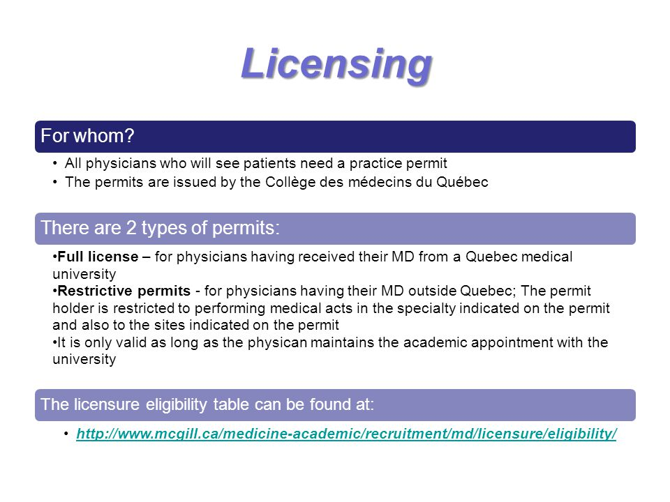 Licensing The licensure eligibility table can be found at: