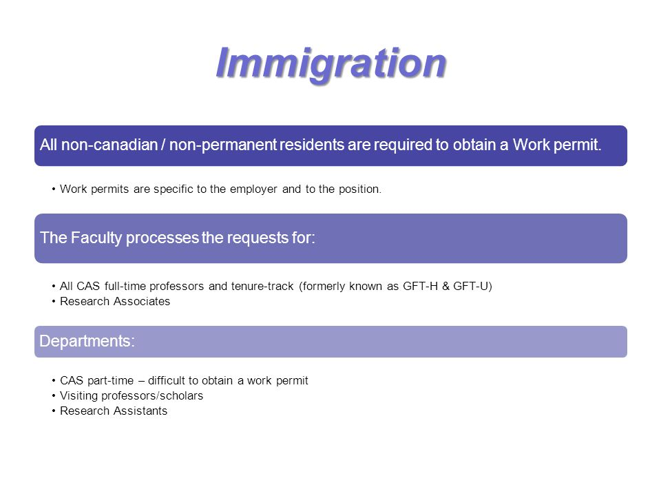 Immigration All non-canadian / non-permanent residents are required to obtain a Work permit.