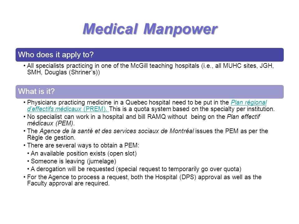 Medical Manpower Who does it apply to