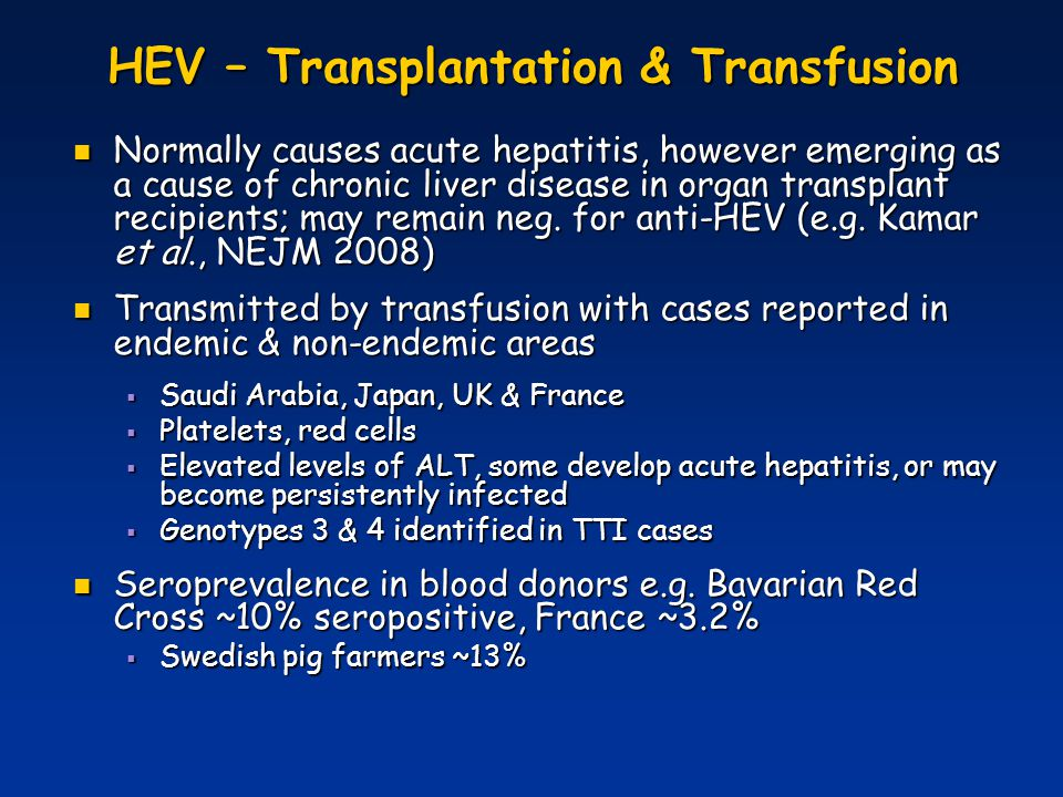 HEV – Transplantation & Transfusion