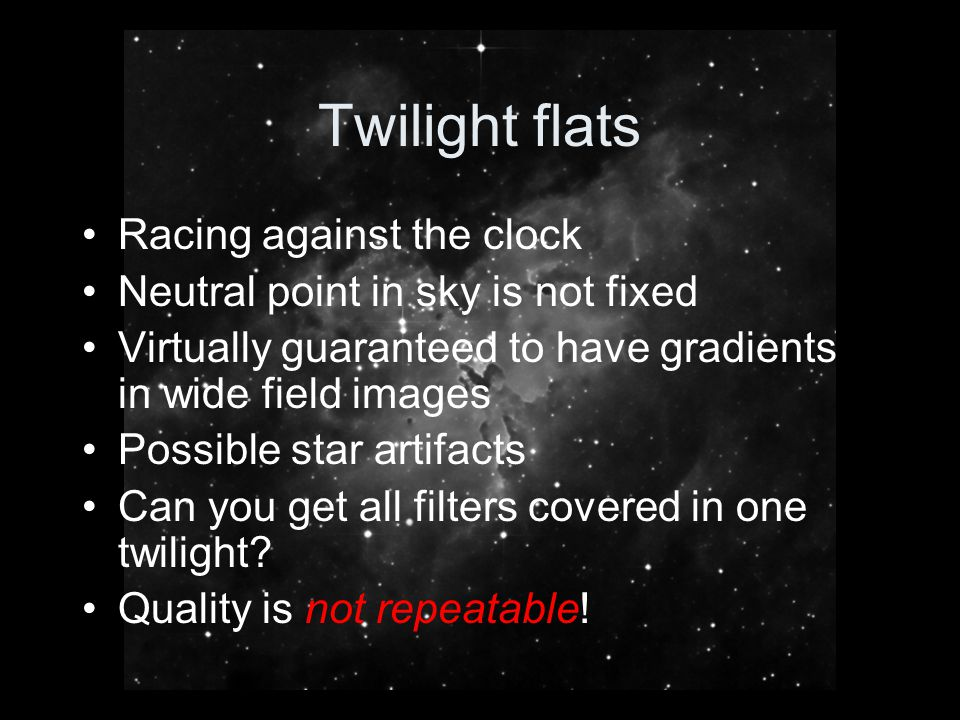 Twilight flats Racing against the clock