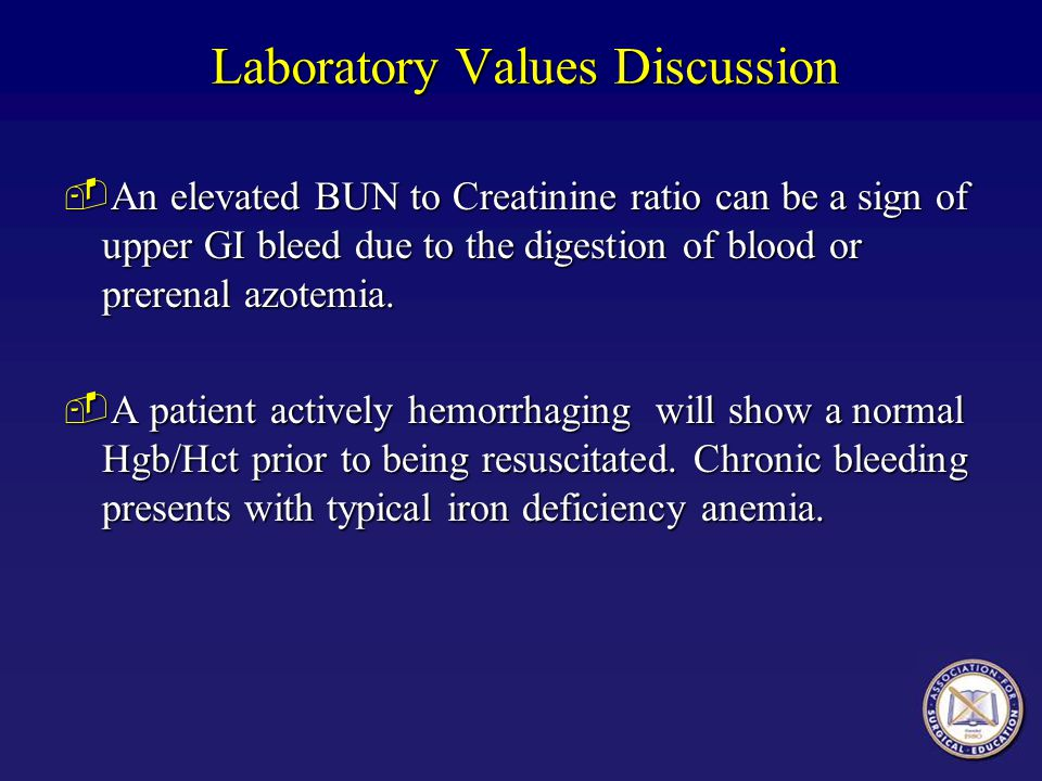 Laboratory Values Discussion