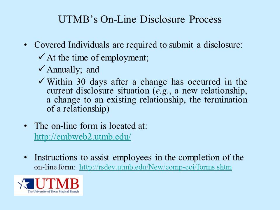 UTMB's On-Line Disclosure Process