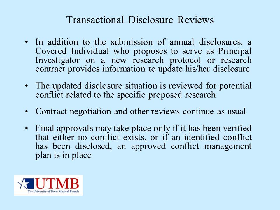 Transactional Disclosure Reviews