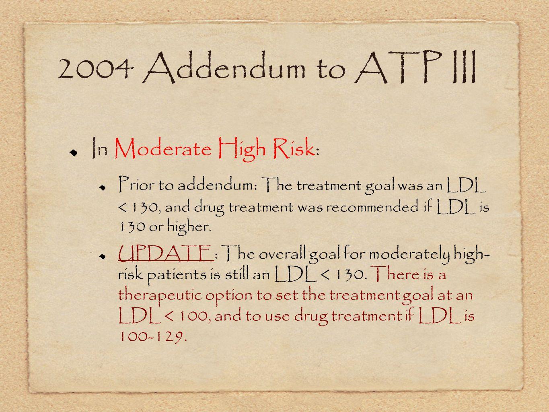 2004 Addendum to ATP III In Moderate High Risk: