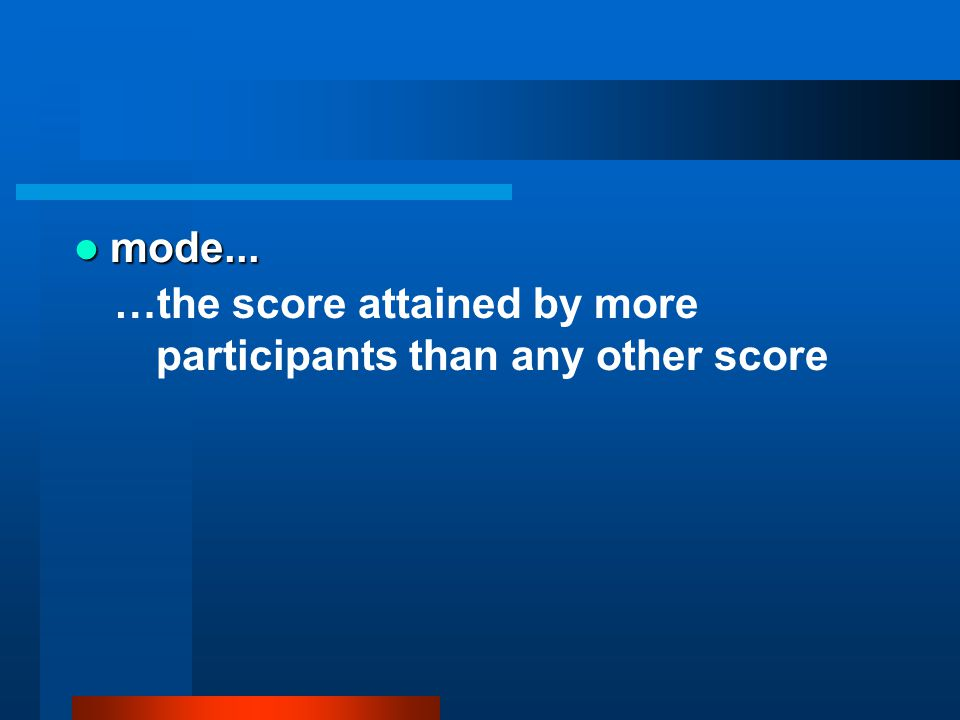 mode... …the score attained by more participants than any other score