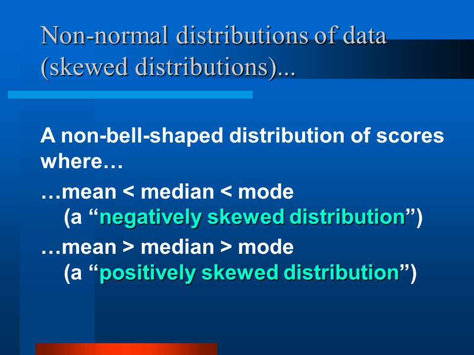 Non-normal distributions of data (skewed distributions)...