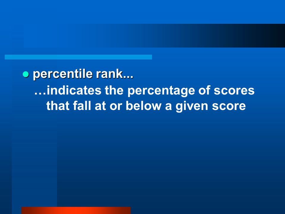 percentile rank... …indicates the percentage of scores that fall at or below a given score