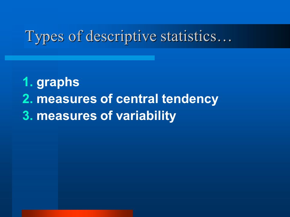 Types of descriptive statistics…