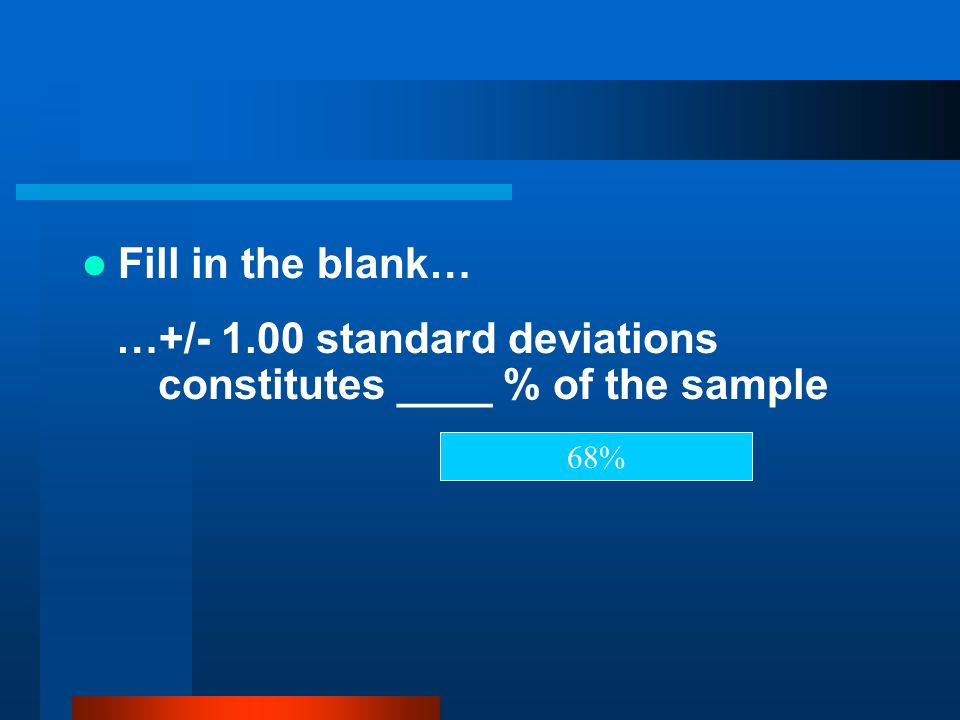 …+/- 1.00 standard deviations constitutes ____ % of the sample