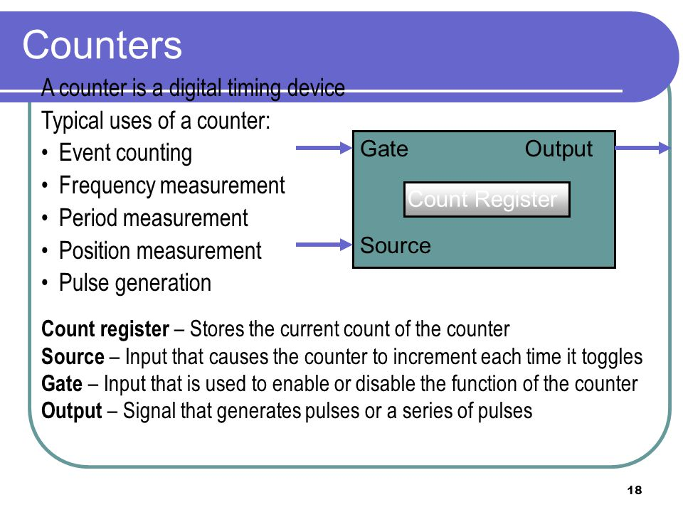 Counters A counter is a digital timing device