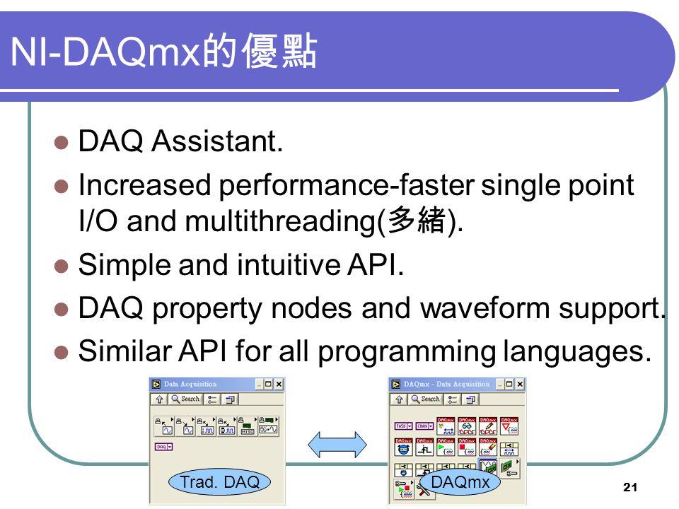 NI-DAQmx的優點 DAQ Assistant.