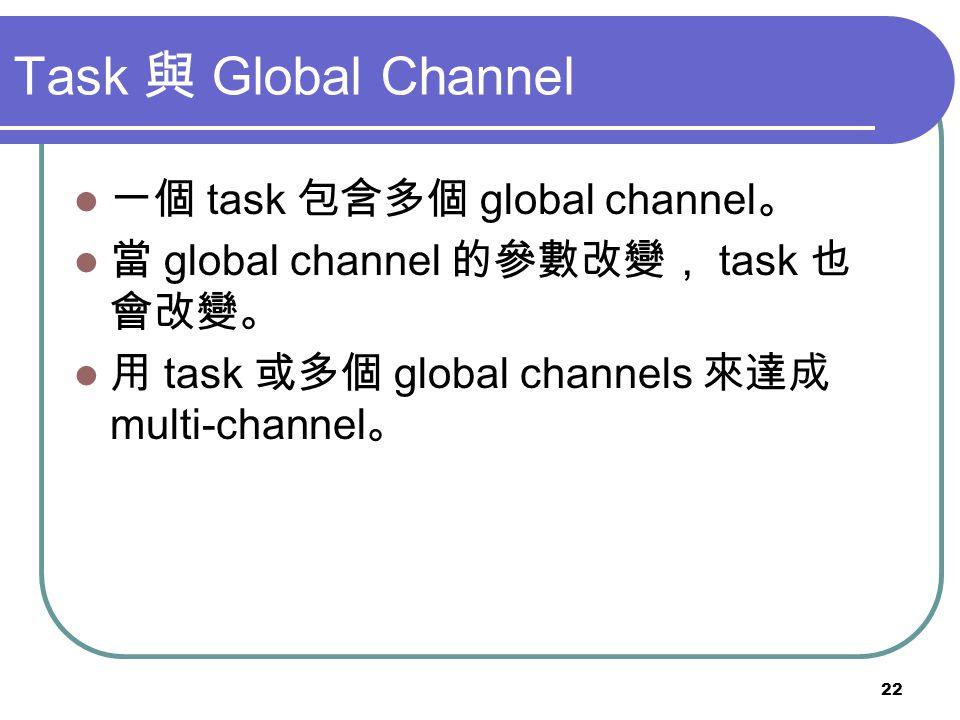 Task 與 Global Channel 一個 task 包含多個 global channel。