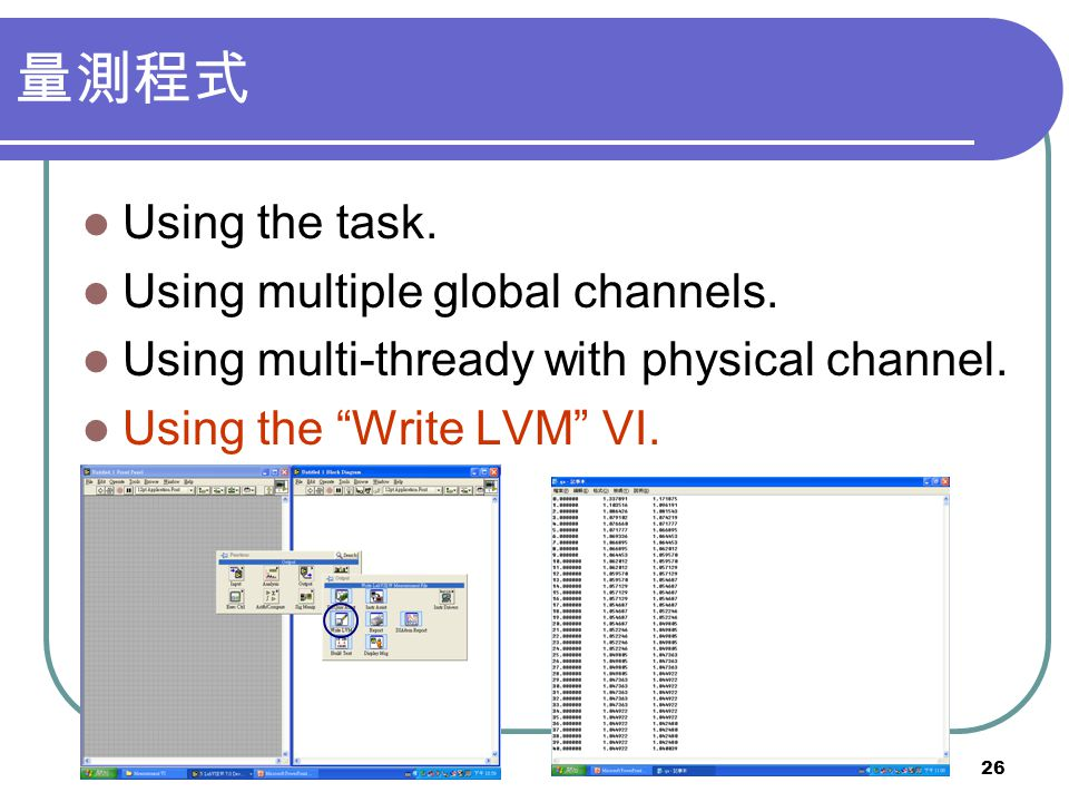 量測程式 Using the task. Using multiple global channels.