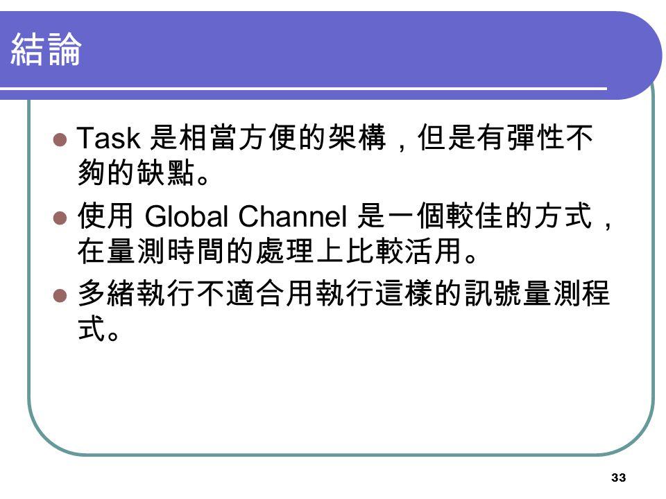 結論 Task 是相當方便的架構,但是有彈性不夠的缺點。 使用 Global Channel 是一個較佳的方式,在量測時間的處理上比較活用。
