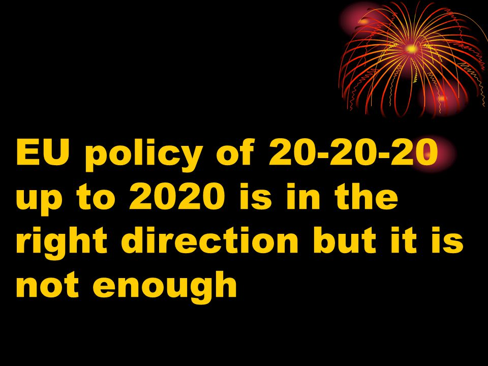 EU policy of 20-20-20 up to 2020 is in the right direction but it is not enough
