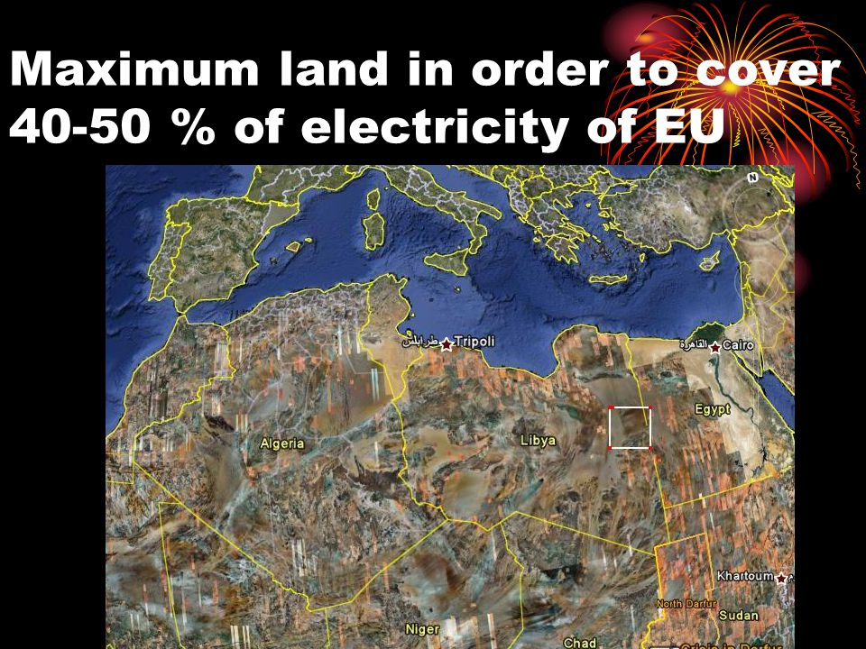 Maximum land in order to cover 40-50 % of electricity of EU