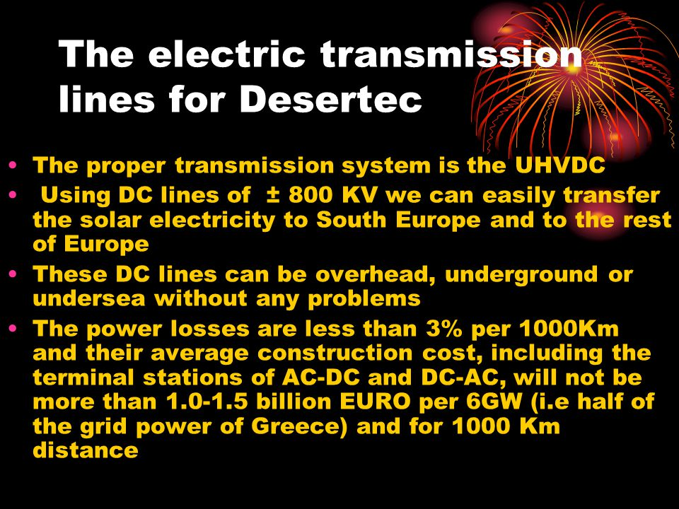 The electric transmission lines for Desertec