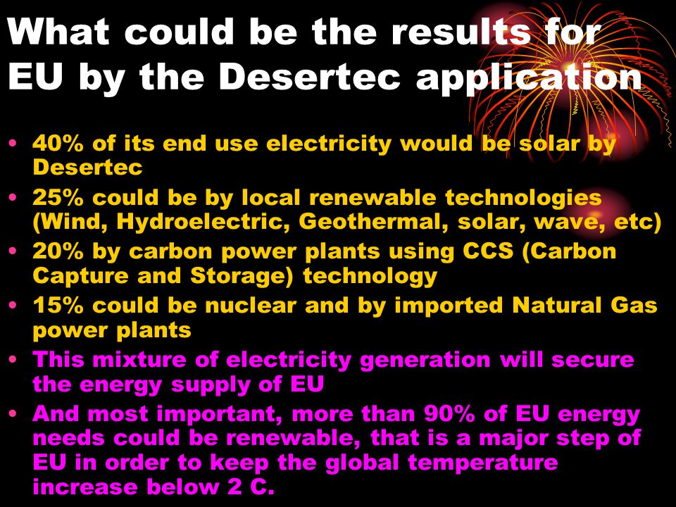 What could be the results for EU by the Desertec application