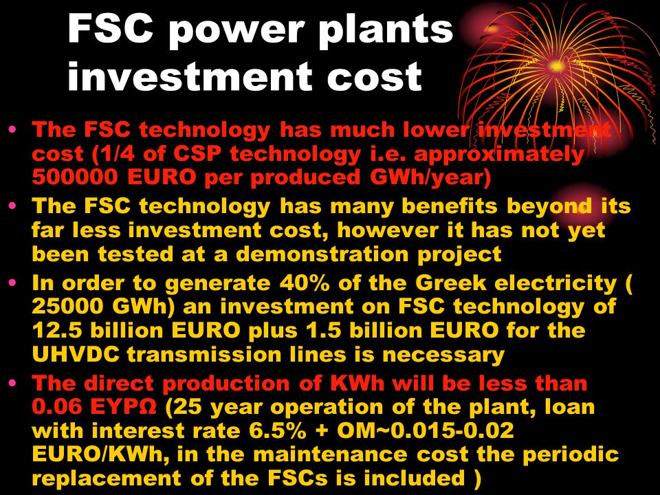 FSC power plants investment cost
