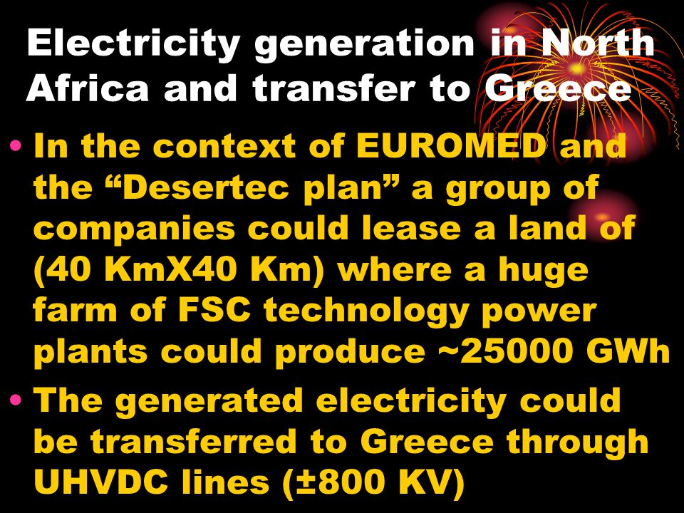 Electricity generation in North Africa and transfer to Greece