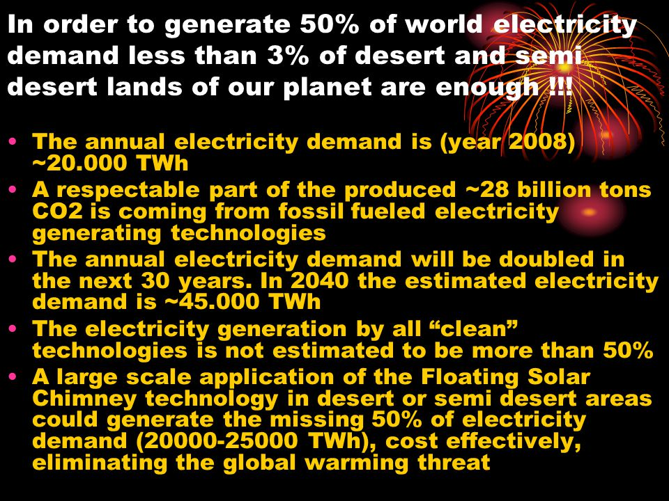 In order to generate 50% of world electricity demand less than 3% of desert and semi desert lands of our planet are enough !!!