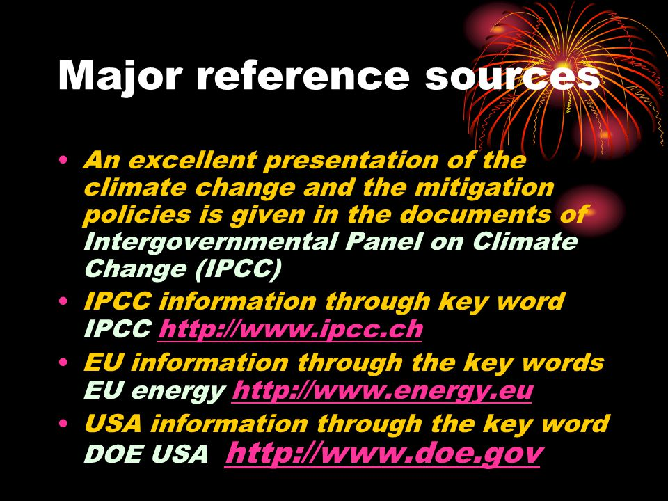 Major reference sources