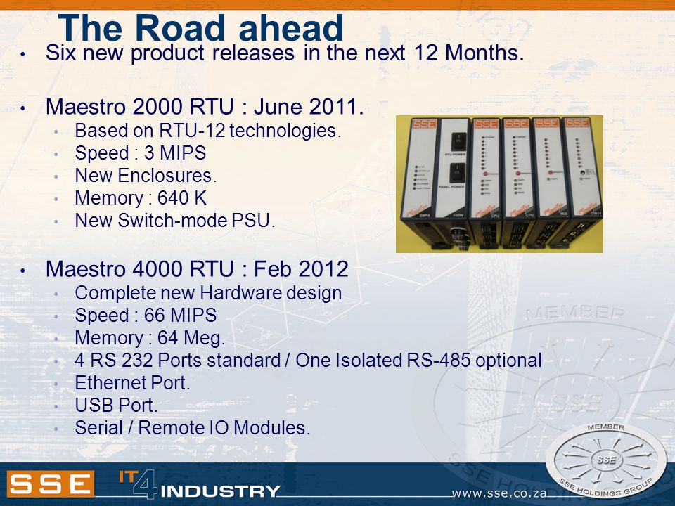 The Road ahead Six new product releases in the next 12 Months.