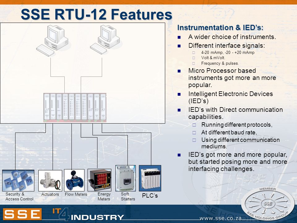 SSE RTU-12 Features Instrumentation & IED's: