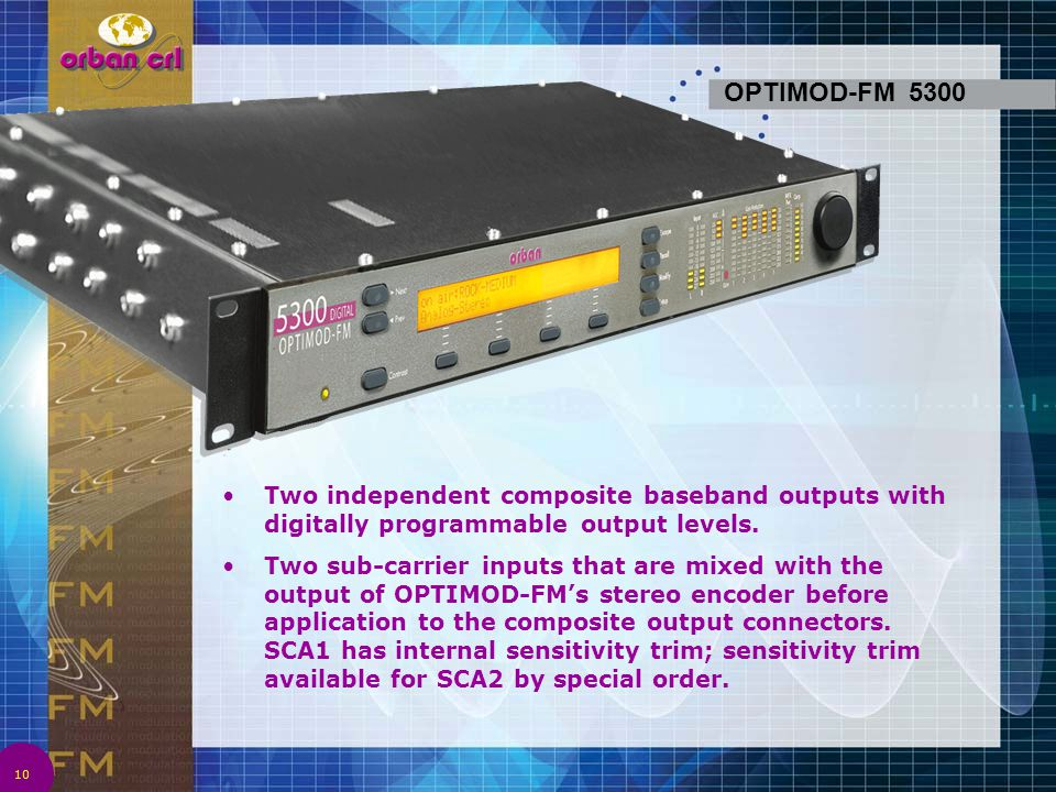 4/2/2017 1:08 AM OPTIMOD-FM 5300. Two independent composite baseband outputs with digitally programmable output levels.