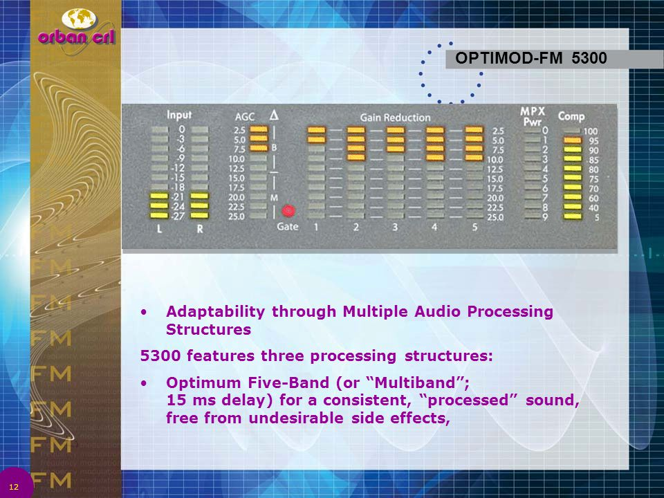 4/2/2017 1:08 AM OPTIMOD-FM 5300. Adaptability through Multiple Audio Processing Structures. 5300 features three processing structures:
