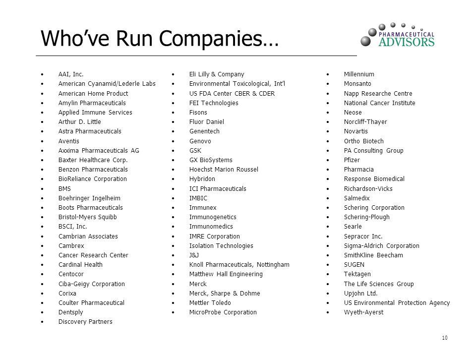 Who've Run Companies… AAI, Inc. American Cyanamid/Lederle Labs