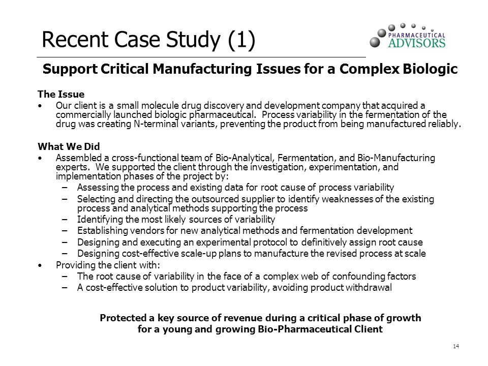 Support Critical Manufacturing Issues for a Complex Biologic