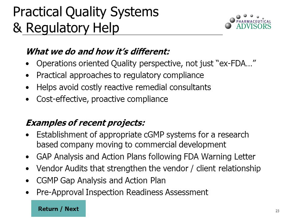 Practical Quality Systems & Regulatory Help