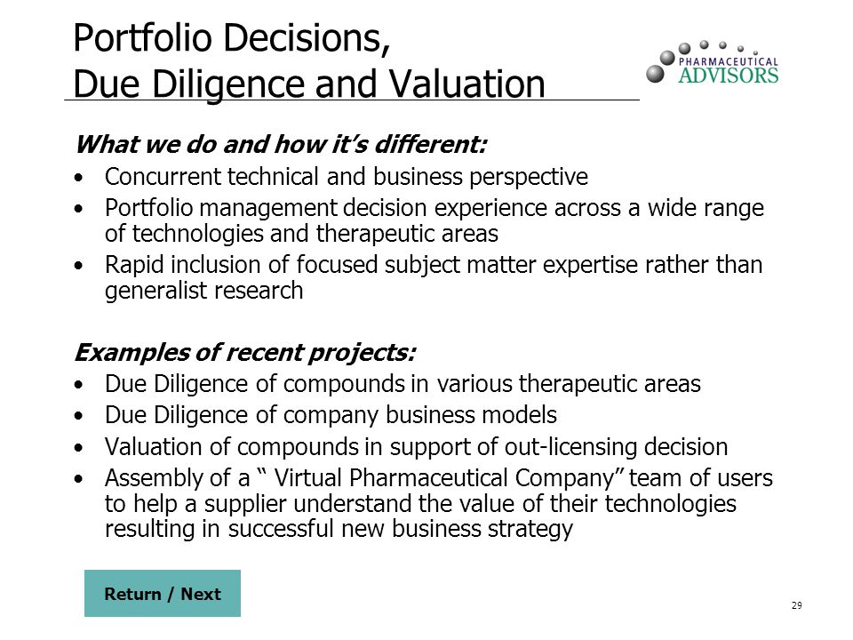 Portfolio Decisions, Due Diligence and Valuation