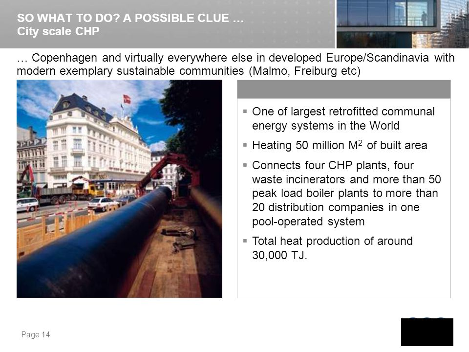 SO WHAT TO DO A POSSIBLE CLUE … City scale CHP
