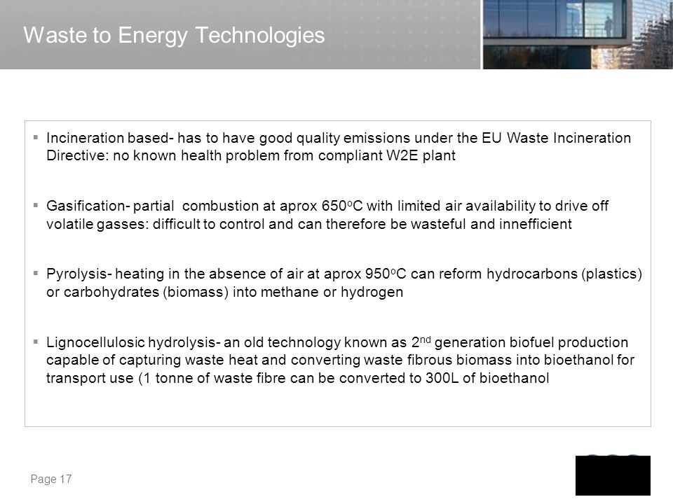 Waste to Energy Technologies