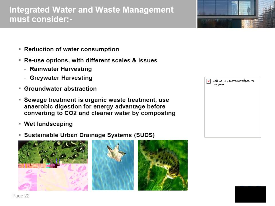 Integrated Water and Waste Management must consider:-