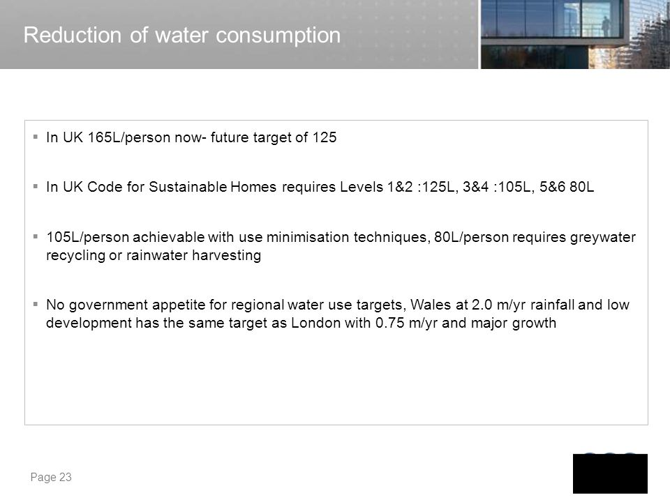 Reduction of water consumption