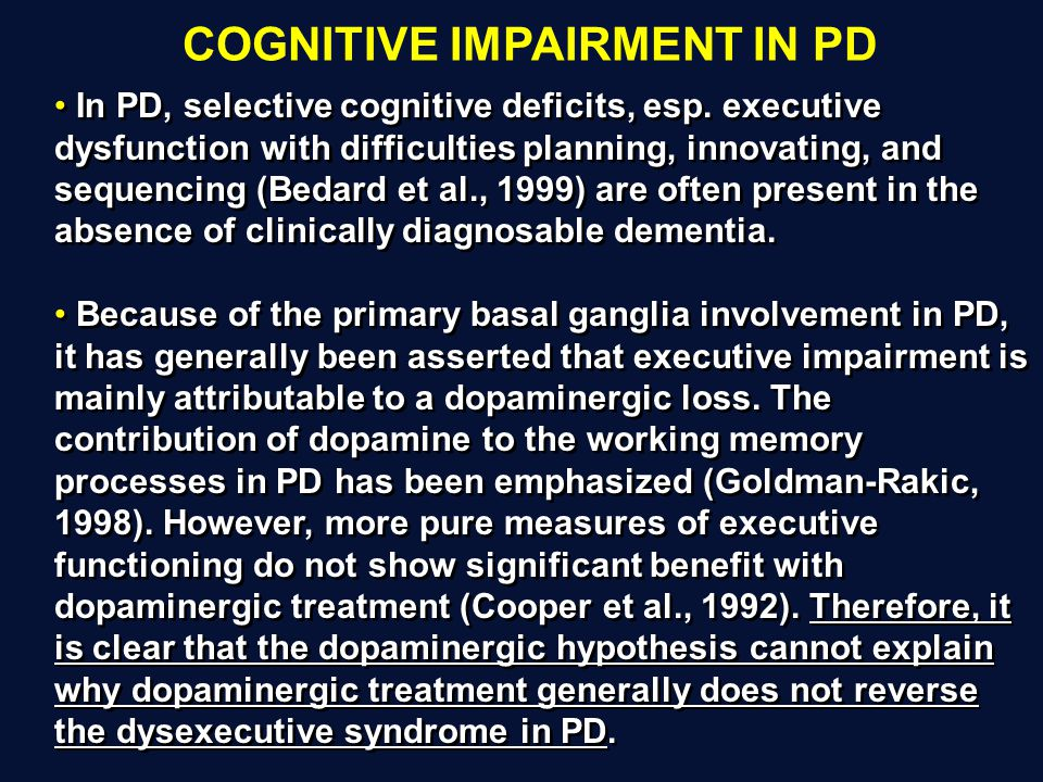 COGNITIVE IMPAIRMENT IN PD