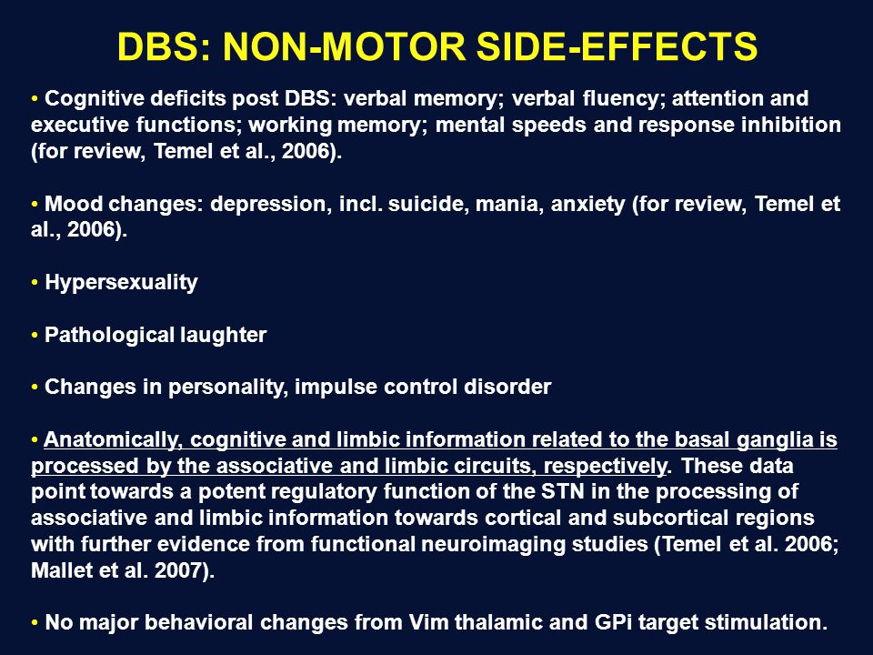 DBS: NON-MOTOR SIDE-EFFECTS