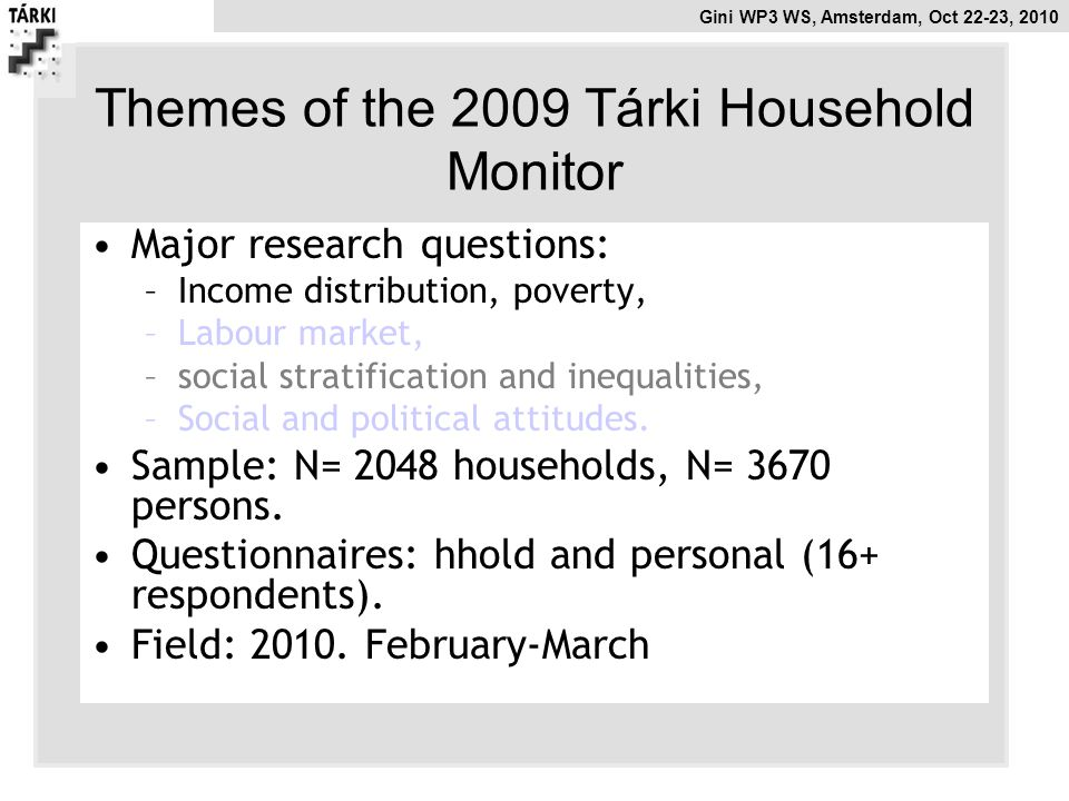Themes of the 2009 Tárki Household Monitor