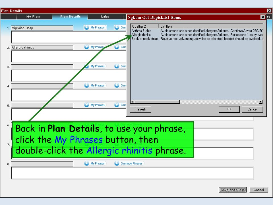 Back in Plan Details, to use your phrase, click the My Phrases button, then double-click the Allergic rhinitis phrase.