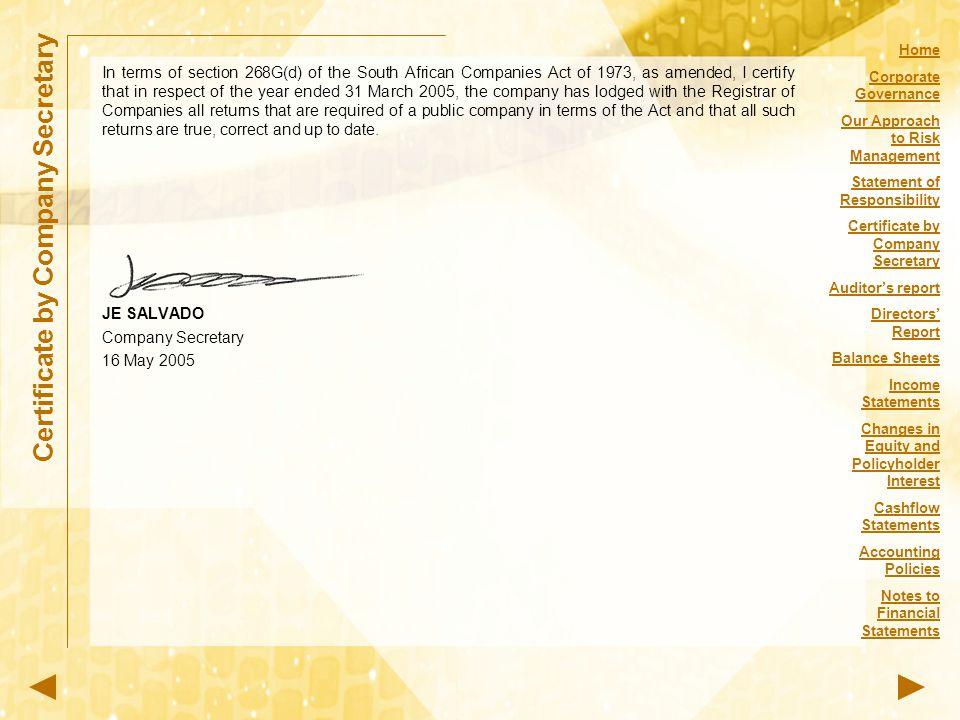 Certificate by Company Secretary